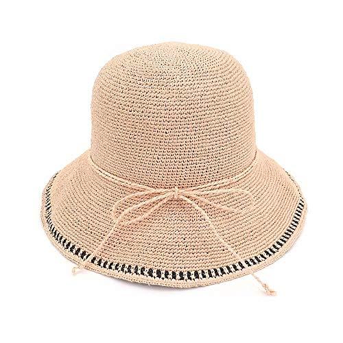 Rongjuyi Sombrero de paja hecho a mano de verano Sombrero de paja for mujer Viaje al aire libre Sombrero de playa de ala ancha Sombrero de sol for mujer con cuerda trenzada Decoración Sombrero de paja