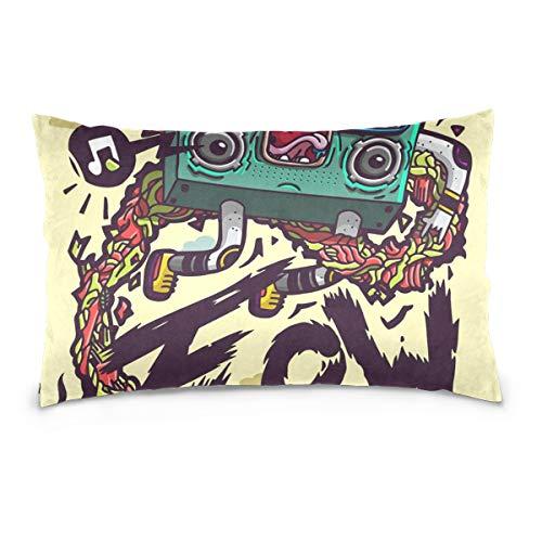 LORONA Funda de almohada con diseño de radio grafiti de lino para decoración del hogar, funda de cojín con cremallera invisible para sofá y cama de 16 x 24 pulgadas, terciopelo, Multicolor, 20x30 Inches/ 50x76 CM