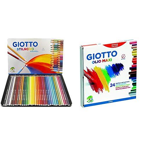 Giotto 256400, Stilnovo Acquarell Pastelli Acquarellabili Scatola Metallo Da 36Colori & Pastelli Ad Olio In Astuccio Da 24 Colori