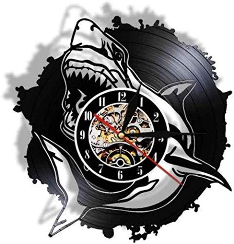 zgfeng Design Moderno Ocean Horror Shark Silhouette Real Vinyl Record Orologio da Parete Ocean Animal Quartz Orologio con Illuminazione a LED Decorazione della casa