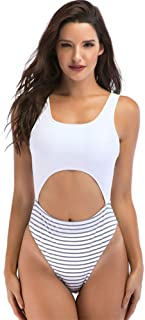 Qiyun Badeanzug Schwimmausrüstung Women Sexy V-Neck Backless One-Piece Bikini for Swimming