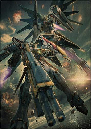 CAOHONG Póster De Lienzo Arte Anime Gundam Póster Pintura Pegatina De Pared para Cafetería Bar 50 * 70 Cm Duradero