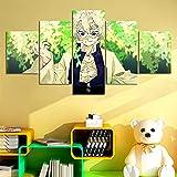 SINGLEAART Impresión de Lienzo 5 Panele Cuadros,Cinco Pieza Pinturas Consecutivas Sala Estar Decoración Modular Póster Moderno Abstracto Mural,con Marco,Demon Slayer (200x100cm,Shinazugawa Sanemi)