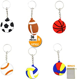 YOUWITH JOY 36-Pack Sports Ball Keychains Key Ring Decorations Boys Birthday Party Favors Supplies, Perfert Ball Craft Gift Novel Prizes Business Promotional Items for Kid Adult, 6 Poplar Styles