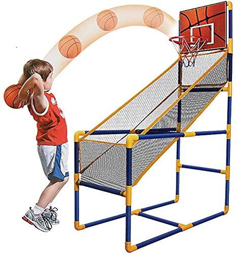 Wanjia Beweglicher Basketballständer, Indoor-Sportschießsystem, mit Minikorb, aufblasbarer Ball Bestes tragbares Basketball-Schießspiel für Kinder,B