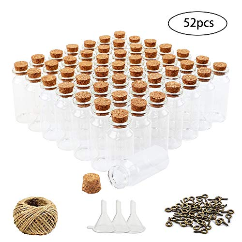 HEHALI 52pcs 5ml Cork Stoppers Glass Jars Mini Glass Bottles Glass Jars Favors with 50pcs Eye Screws 30 Meters Twine 3pcs Funnel