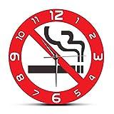 Wangzhongjie Panneau D'Interdiction Non Fumeur Avertissement Horloges Murales Fumer Est Interdit Lieu Public Café Magasin Magasin Décor Horloges Suspendues Montre