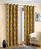 Reyansh Decor Heavy Polyster Digital Print Eyelet Curtain (Window 4 x 6 Feet, Yellow_H-1_Pack of 3)