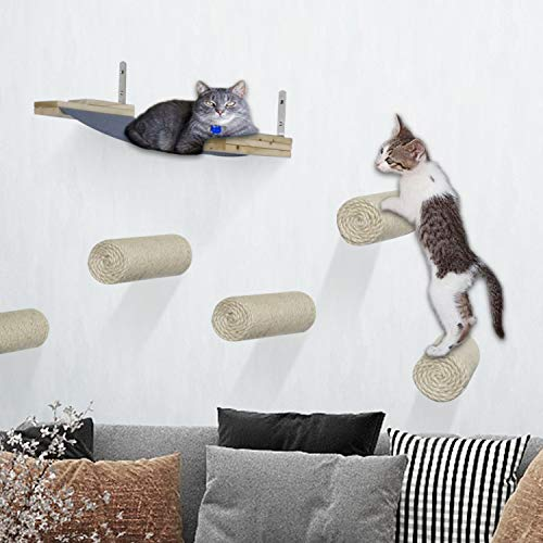 Yokstore Wall Mounted Cat Scratching Shelves - Set of 7 Floating Sisal Cat Scratching Posts Steps with Cat Hammock Perches for Sleep Play Climbing LoungingCat Supplies