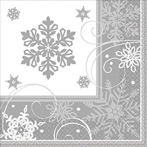 Amscan International 501559 servet, glinsterend, sneeuwvlok, 12,7 x 12,7 cm, zilverkleurig / wit