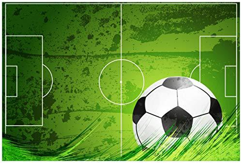 Wallario selbstklebendes Poster - Fußball-Feld klassisch grün mit Ball in Premiumqualität, Größe: 61 x 91,5 cm (Maxiposter)