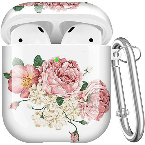Maxjoy Compatible AirPods Case Cover, Cute Hard Case Protective Carrying Case Shockproof Cover with Keychain Compatible with Apple AirPods Charging Case 2&1 for Girls Boys Women Men, Flower