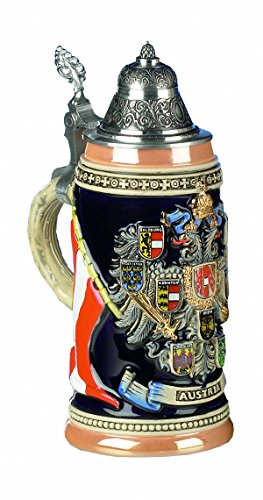KING Jarra de Cerveza Alemana Austria Escudos con Alto Relieve, Jarra 0,4 litros KI 1014 0,4L