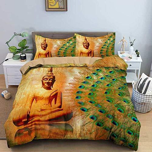 HGFHKL Juego de Cama con Estampado de Buda 3D 3 Piezas Funda de edredón Funda de Almohada Colcha Ropa de Cama Budista India 3 Piezas
