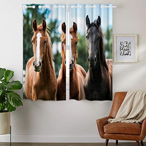 Violetpos 160 x 110 cm 3 Pferde Braun Schwarz Gardinen Blickdichter 2er Set Vorhang Verdunkelung mit Ösen für Schlafzimmer Wohnzimmer