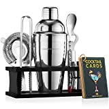 Mixology Bartender Kit with Stand | Bar Set Cocktail Shaker Set for Drink Mixing - Bar Tools: Martini Shaker, Jigger, Strainer, Bar Mixer Spoon, Tongs, Opener | Best Bartender Kit for Beginners