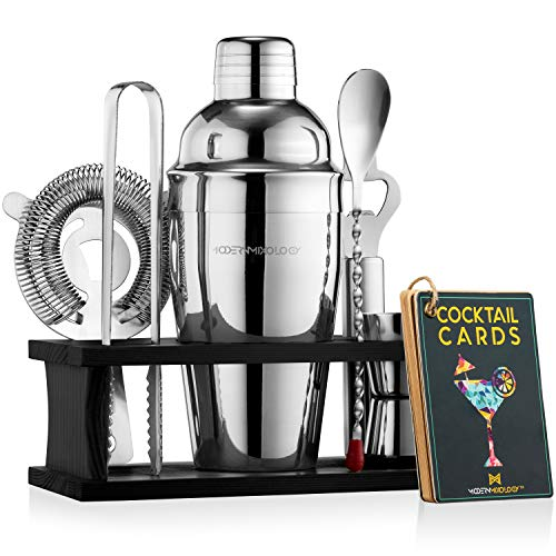 Mixology Bartender Kit with Stand | Bar Set Cocktail Shaker Set for Drink Mixing - Bar Tools: Martini Shaker, Jigger, Strainer, Bar Mixer Spoon, Tongs, Opener | Best Bartender Kit for Beginners