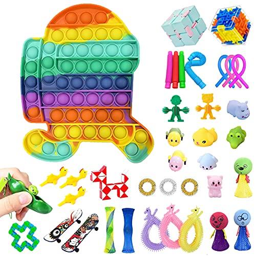 YIZER 38Pcs Fidget Toys Fidget Pack Cheap Big Fidget Packs Sensory Fidget Toys Fidget Toy Pack Fidget Box Fidget Set Stress Relief and Anti-Anxiety Toys Assortment for Kids Adults