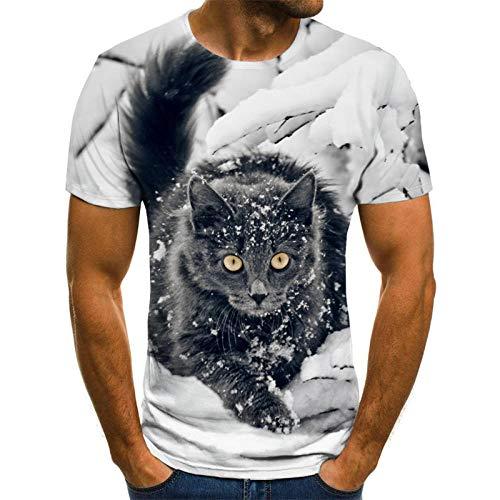 Dieren Unisex T Shirt Zomer 3D Gedrukt Korte Mouw Sneeuw Kat Heren Trend Grappige Jongens Mannen Blouse