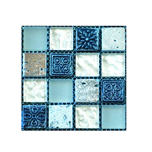 Baijiaye DIY Mozaïek Wandtegels Stickers Kleurrijke Schilderij Stijl Decoratieve Tegels Sticker Anti-slip Lijm Vloerstickers in Muurstickers van Huis & Tuin Oceaanblauw 10X10cm(3.93 * 3.93inch)