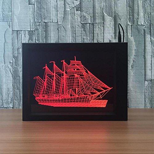 LPY-3D Photo Cadre LED Nuit lumière Bois Table Bureau Deco Lampe Chambre Enfant décoration Cadeau de Noël