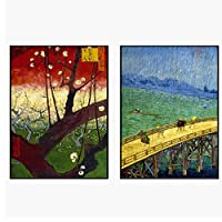 日本絵画浮世絵風景装飾絵画リビングルームダイニングルーム絵画クアドロス装飾-50x70cmx2フレームなし