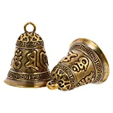 ABOOFAN 2 cascabeles de latón tibetanos vintage de cobre para colgar cascabeles Jingle Bells DIY campanas adornos para carillón de viento, llaveros colgantes colgantes decoración de Navidad