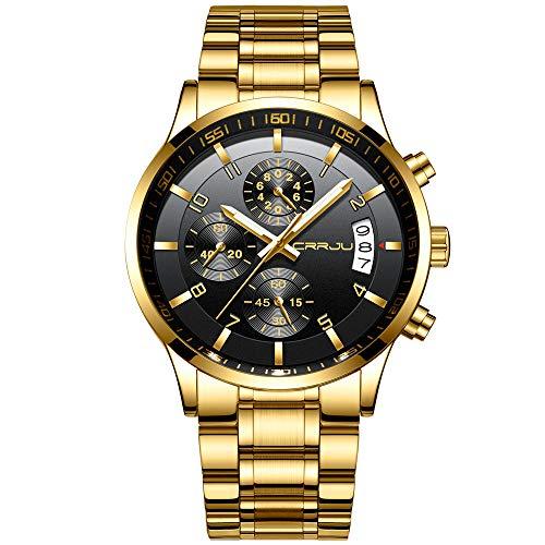 CRRJU Herren Uhr Business Edelstahl wasserdichte Chronographen mit Kalender Armbanduhr Edelstahlband Stoppuhr Analog Quarzuhr (Gold Schwarz)