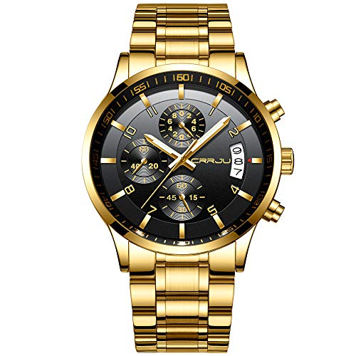 CRRJU Gold Men's Watches 3-Sub Dial Business Date Stainless Steel Watches,Fashion Sport Quartz Wristwatch for Men