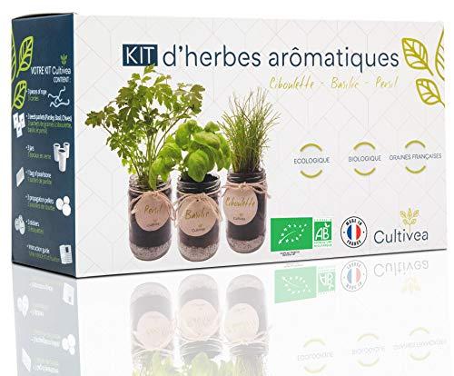 Cultivea –Bio Kräuter Anzuchtset -100% Öko Kräutersamen – Indoor Garten – Bio Samen– Das perfekte Geschenkset – Pflanzset (Basilikum, Schnittlauch, Petersilie) – DIY –