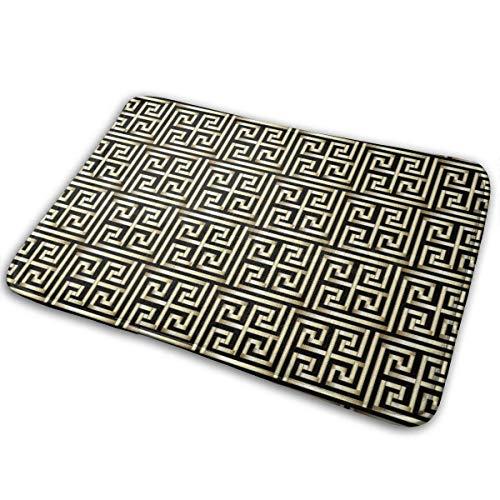 N\A Alfombra de Entrada de Goma Antideslizante Lavable a máquina de Felpudo Interior Negro geométrico con patrón de Llave Dorada