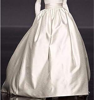 PROMLINK Vestido Largo de cóctel con Bolsillo y Falda de satén en A, Largo hasta el Piso, para Mujer