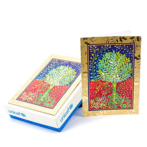 Hallmark UNICEF Boxed Christmas Cards, Peaceful Holly Tree (20 Cards and 21 Envelopes)