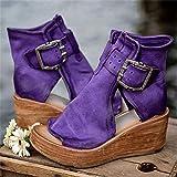 Sandalias de Cuña para Mujer con Hebilla Plataforma de Tacón con Punta Abierta de Cuero PU Zapatos de Mujer de Color Sólido con Lados Huecos