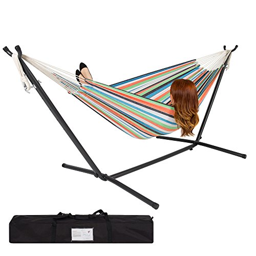 Best Choice Products 2-Person Indoor Outdoor Brazilian-Style Cotton Double Hammock Bed w/ Carrying Bag, Steel Stand, Rainbow Stripes