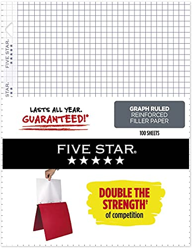 Graph Paper, Loose Leaf Paper, 3 Hole Punched, Reinforced Filler Paper, Graph Ruled, 11 x 8-1/2 inches, 100 Sheets Per Pad