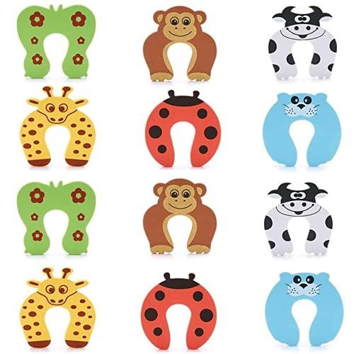 HOMYBABY Protector puertas bebe [12pcs] | Seguridad puertas niños para el hogar | Protectores infantiles de espuma | Topes para puertas bebe con diseño de animales | Seguro para bloquear puertas