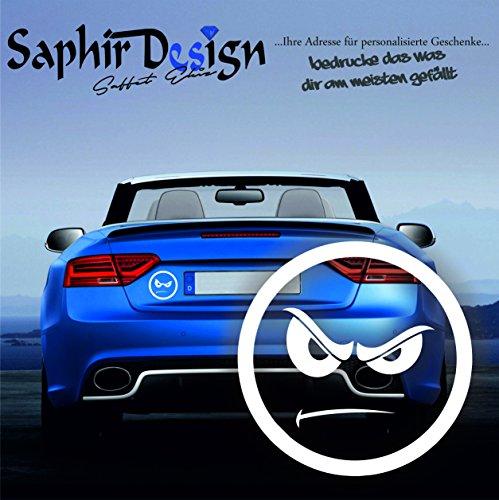 SMILY Böse / Böser Blick - Tuning Autoaufkleber A76 / 10x 10cm Hochleistungsfolie in der Farbe Weiß