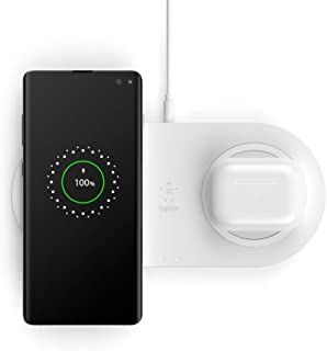 Belkin WIZ002auWH Dual Wireless Charger (Dual Wireless Charging Pad 10W for iPhone 11, 11 Pro, 11 Pro Max, Galaxy S20, S2...
