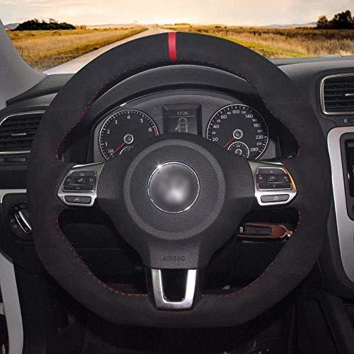 FXDCQC Echtleder-Leder-Lenkradbezug aus Wildleder für Volkswagen Golf 6 GTI VW Polo GTI Scirocco R Passat CC R-Line 2010