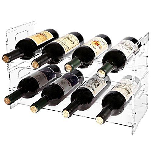 MyGift Weinregal für 8 Flaschen, modern, transparent, Acryl, freistehend, stapelbar, 2-teiliges Set