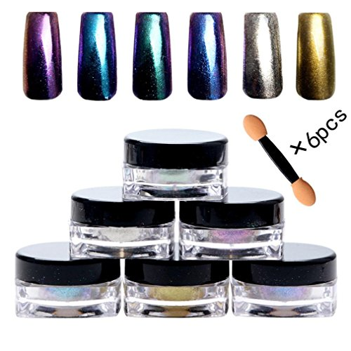 Sirene Ongles 6pcs Set Poudre en Arc en Ciel DIY Nail Art Mirror Glitter Powder (A)