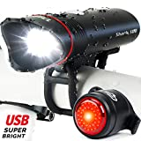 Superbright Bike Light USB Rechargeable LED – Free Taillight Included- Cycle Torch Shark