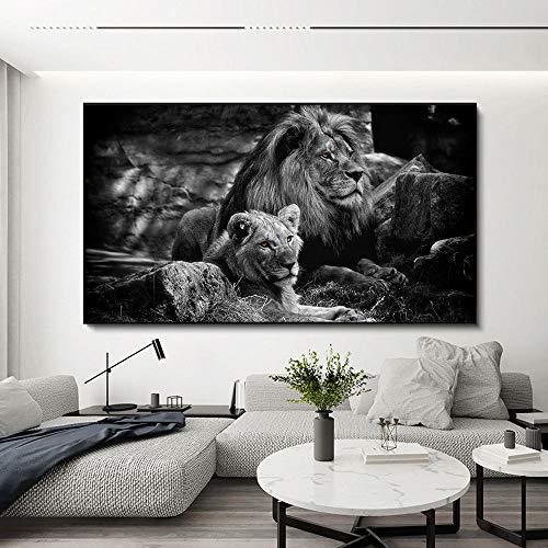 Pinturas impresas en lienzo de pareja de leones en blanco y negro Arte moderno de la pared de animales Cuadro decorativo modular para la decoración del hogar de la sala de estar-60x100cm Sin marco