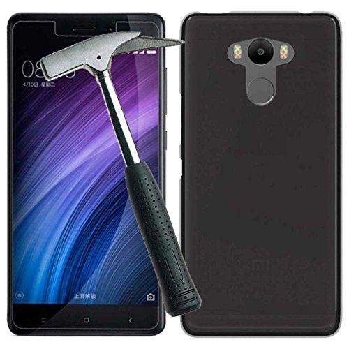 Todobarato24h Funda TPU Lisa Compatible con Xiaomi redmi 4/4 Pro / 4 Prime Negra + Protector DE Cristal Templado