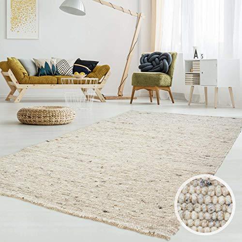 Gewalkter Handweb-Teppich Lambrecht aus hochwertiger Schurwolle edel und aufwendig verarbeitet fürs Wohnzimmer, Eszimmer, Schlafzimmer und die Küche geeignet 63 Grau Beige meliert 090 x 160 cm