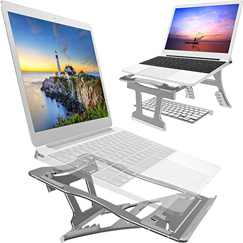 2 in 1 Laptop Stand for Desk, 3 Folding Modes, 9 Angles Adjustable. Portable Ergonomic Metal Laptop Stand. Free from Install. for Laptop up to 15'', Suitable for Long Time of Laptop Using (Dark Gray)