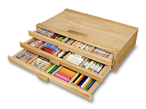Creative Mark Pastel Storage Box, Wooden 3 Drawer, Sturdy & Stackable, Perfect For Pastels, Art Tools, Paint Brushes & Makeup Brushes -Natural Finish 9½