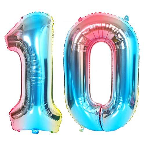 DIWULI, Globos de número XXL, número 10, Globos de Color Azul Iridiscente Arco Iris, Globos de número, Globos de Papel de Aluminio número años, 10º cumpleaños, Fiesta, decoración