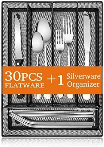 31 Piece Silverware Set E far Stainless Steel Flatware Cutlery Set Service for 4 with Mesh Utensil product image